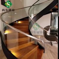 定制生产弧型钢木楼梯玻璃护栏实木踏板不锈钢扶手