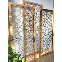 长沙领标不锈钢屏风加工 来图设计定制镜面玫瑰金隔断生产厂家