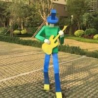 彩色音乐人物不锈钢雕塑 人物雕塑设计公司/企业