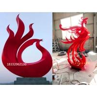 不锈钢抽象凤凰雕塑加工,标志性不锈钢雕塑制作