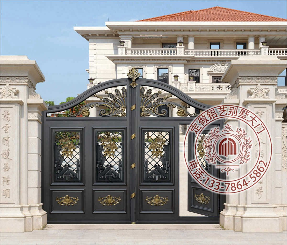 别墅围墙大门图片 高大上别墅大门 别墅小区大门设计