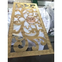 铝雕金色镂空花格铝雕玻璃屏风铝制花格隔断