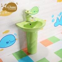 幼儿园立柱式洗脸盆陶瓷彩色立柱盆卫生间儿童洗手盆面盆洗手池