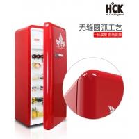 HCK哈士奇 BC-130GGA单门冷藏冷冻红色彩复古冰箱厨