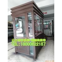咖啡色钢结构收费亭、钢结构岗亭开门