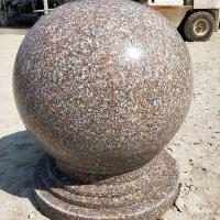 批量花岗岩石球小区广场路障挡车石球石柱供应
