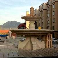 大理石石雕喷泉高档小区黄金麻石雕欧式喷泉雕塑