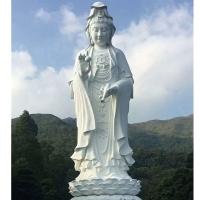 汉白玉观音菩萨寺庙石雕观音加工做工精美价格优惠
