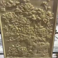 黄沙岩浮雕大理石汉白玉石雕牡丹花草浮雕背景墙