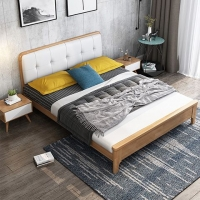 北欧实木床1.8米现代简约双人床 成人软包日式单人床轻奢民宿