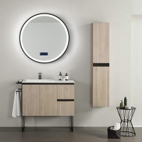 简艺智能镜黑色铝框圆镜卫生间壁挂镜子