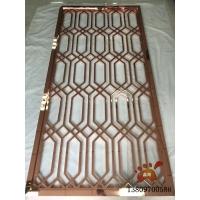 镜面水镀玫瑰金屏风、玫瑰金铝板镂空屏风细节展示