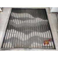 哑光黑钛金不锈钢屏风/无缝满焊工艺金属玄关隔断实图