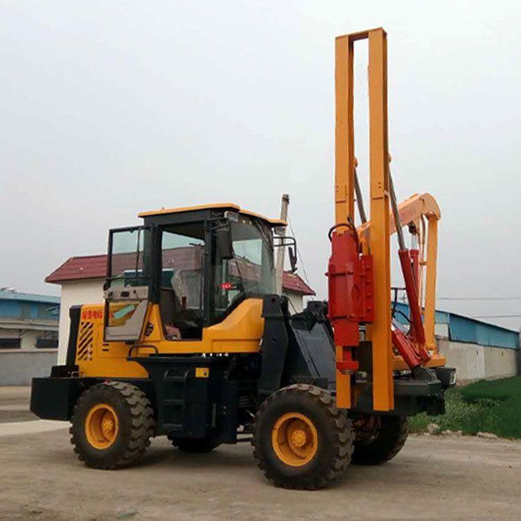 鏟車式打樁機 公路波形護欄打樁機 立柱液壓護欄鉆孔機-- 貴盛機械