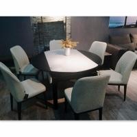 鋼化玻璃實木餐桌小戶型可伸縮桌椅組合T1809+Y1573