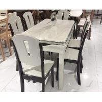 大理石餐桌椅组合现代简约全实木餐桌长方形家用