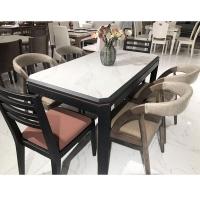 餐桌椅组合现代简约实木餐桌长方形大理石餐桌