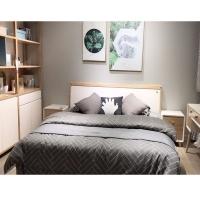 双人床1.8米现代简约板式床经济型卧室家具
