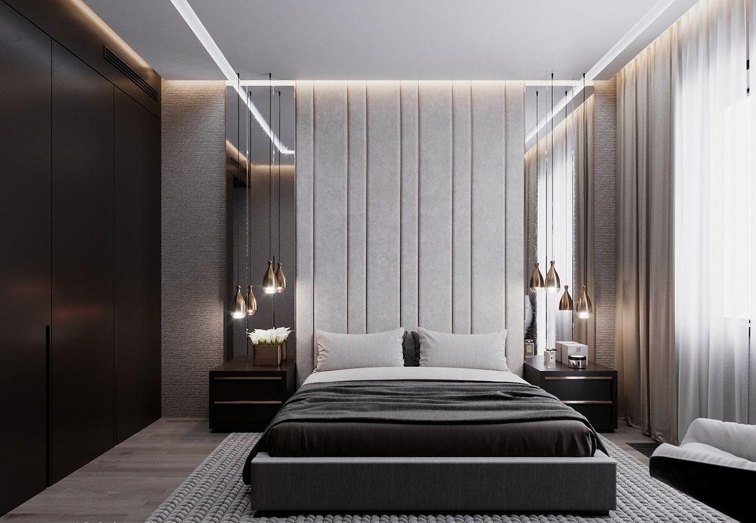 主卧延续了港式风格的时尚和雅致,软包床头背景墙,金属图片