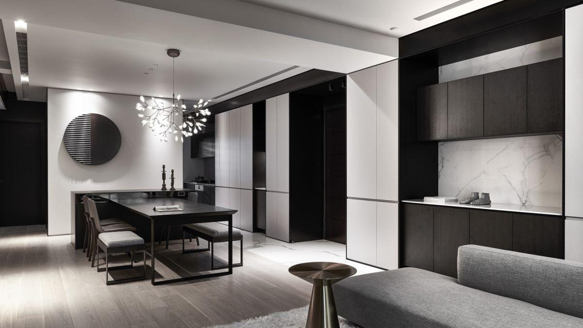 黑白灰三色,利用板材自然的纹理进行对比,融合,品味利落
