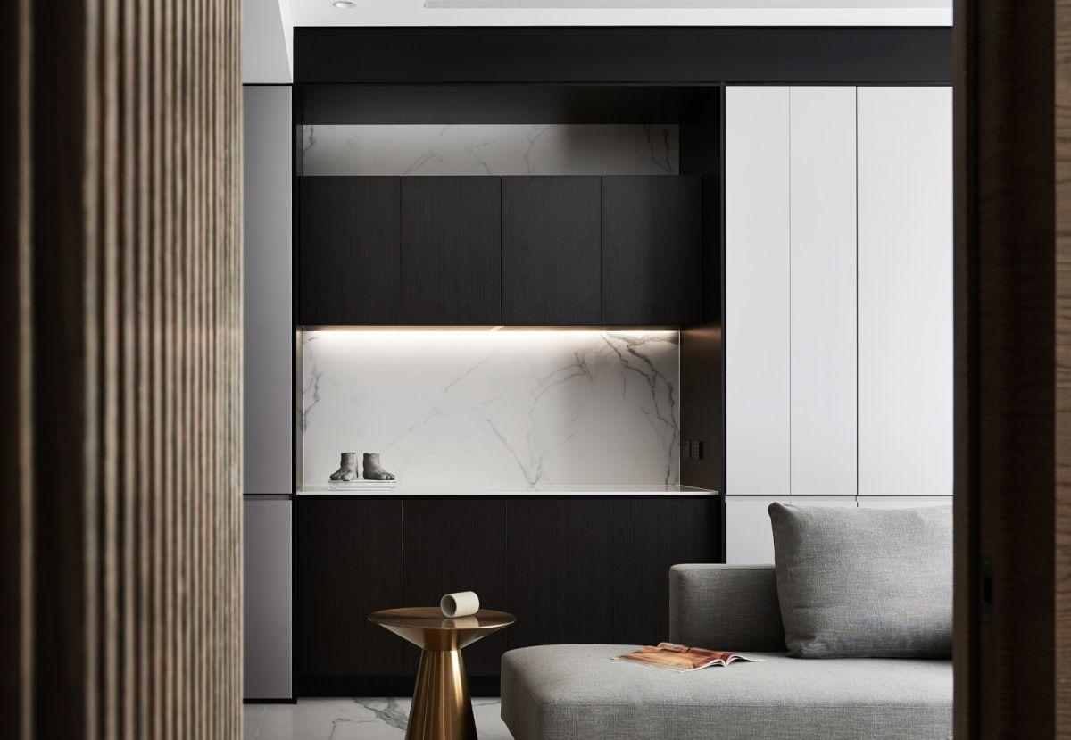 黑白灰三色,利用板材自然的纹理进行对比,融合,品味利落线条下现代