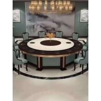 定制生产自动转盘大圆桌 电动餐桌椅 音乐雕花喷泉电动餐桌