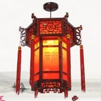 中式宮燈仿古實木紅燈籠明清古典宮廷吊燈復古紅木色燈具