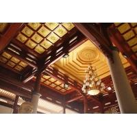 仿古建筑室内浮雕莲花天花板寺庙寺院彩绘吊顶
