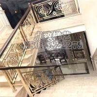 别墅旋转楼梯护栏酒店铝艺楼梯栏杆铜铝雕花楼梯扶手铝艺护栏