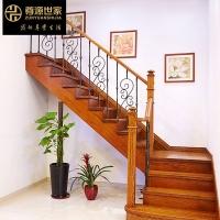 美式实木楼梯 钢木楼梯 窗台栏杆红橡实木