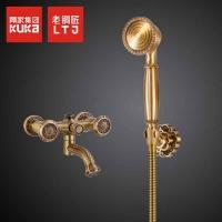 老铜匠全铜简易花洒套装浴室龙头喷头纯铜手持淋浴头挂墙式简易式