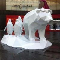 玻璃钢动物雕塑抽象格子北极熊