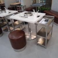 火锅店家具定制,人造石火锅餐桌,大理石火锅桌订做