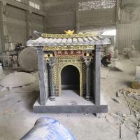 定制花崗巖石雕佛龕 戶外石頭廟宇供奉土地公婆佛龕