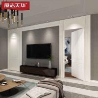 展志天华电视背景墙客厅液晶沙发墙定制欧式一体装饰隐形门