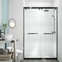 西安淋浴房整体卫生间隔断简易玻璃干湿分离不锈钢一字型浴屏家用