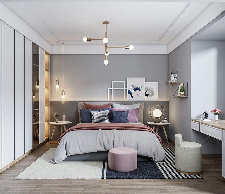新品-卧房空间 朗伊尔城系列 麻面白+金钟柏 北欧主卧