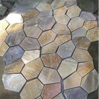 黄木纹碎拼 冰裂纹 专业生产 代加工各种石材冰裂纹碎拼