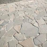 天然不規則板巖鋪地園林地磚淺灰色碎拼石灰色片石