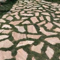 长期供应碎拼石 不规则板岩 黄色红色板岩 乱形石