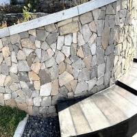 黄木纹锈色碎拼板岩 冰裂纹文化石外墙砖 不规则铺地园林乱形石