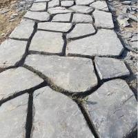 青灰色板岩碎拼 街道铺路片石 板岩铺地石板材 厂家出售