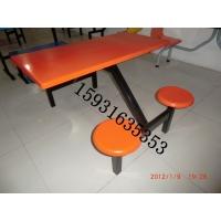 河北胜芳玻璃钢圆凳面连体餐桌椅,河北胜芳快餐餐桌椅