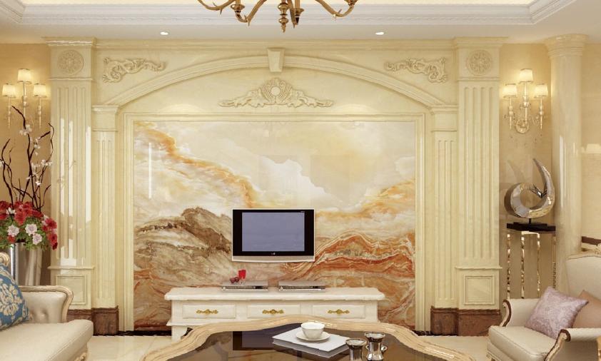 电视背景墙瓷砖石材罗马柱