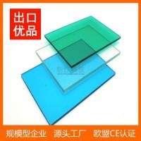 PC耐力板厂家直销透明蓝色PC板车棚雨棚面板