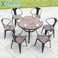 休闲桌椅外摆塑木桌椅室外防腐木铝合金餐桌椅组合