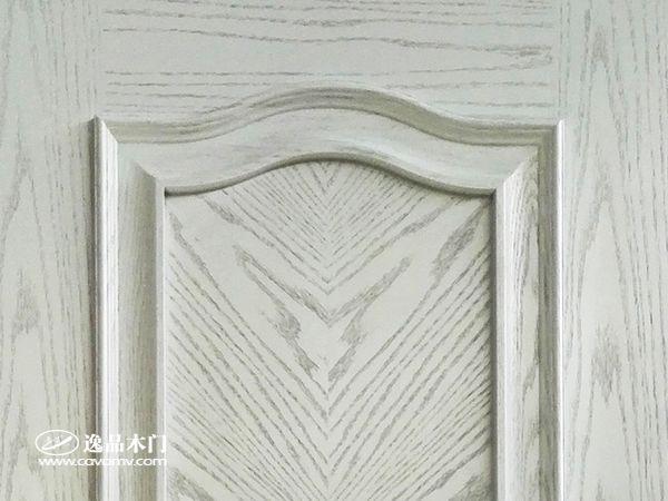 重庆逸品木门红橡木皮木门细节 白色