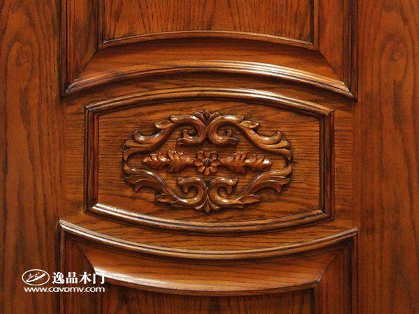 重庆逸品木门红橡木皮木门细节 纹理美观大方