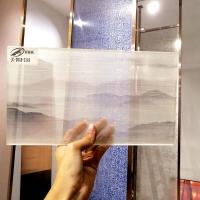 新駿馳直批中國風山水畫玻璃 家裝工藝夾絲玻璃