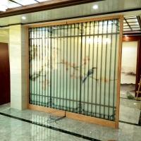 私人別墅國風山水畫定制 家居裝飾花鳥夾絲玻璃